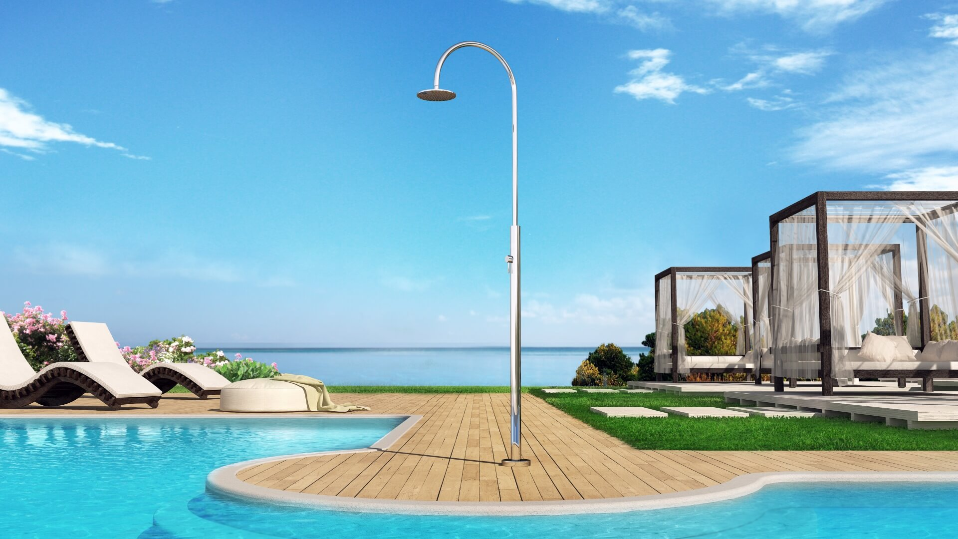 Picture Outdoor shower, pool, garden - Aria Cylinder Inoxstyle